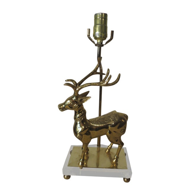 Vintage 70s Brass Reindeer Lamp W/Lucite Base - Image 1 of 5