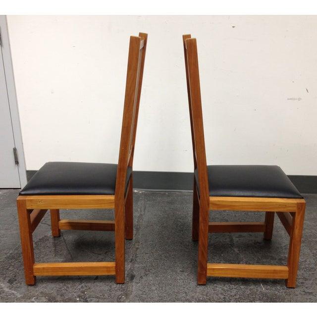 Custom Designed Teak Chairs - A Pair - Image 5 of 7