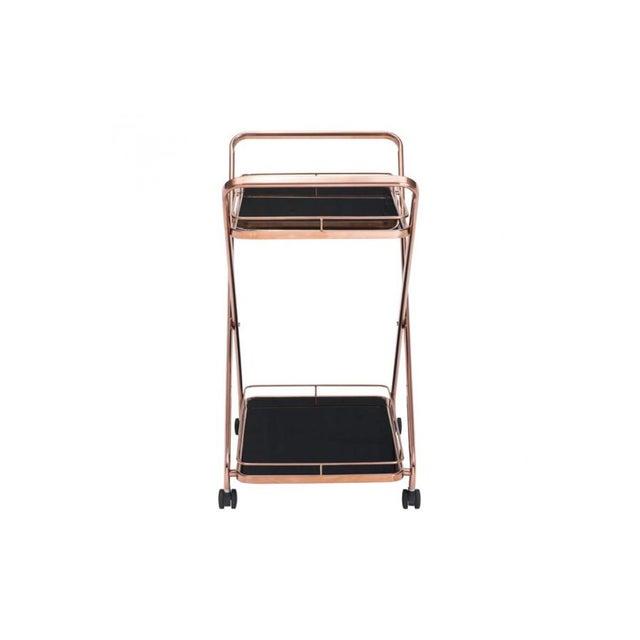 Rose Gold & Black Glass Bar Cart - Image 3 of 4