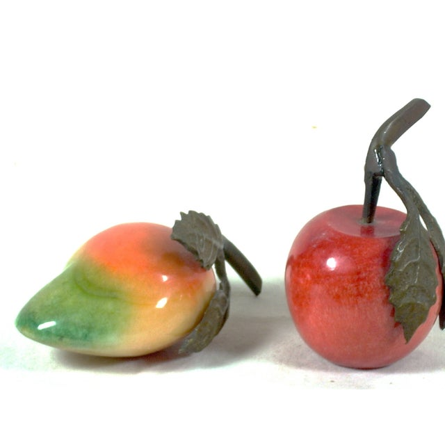 Image of Vintage Italian Alabaster Pear and Apple