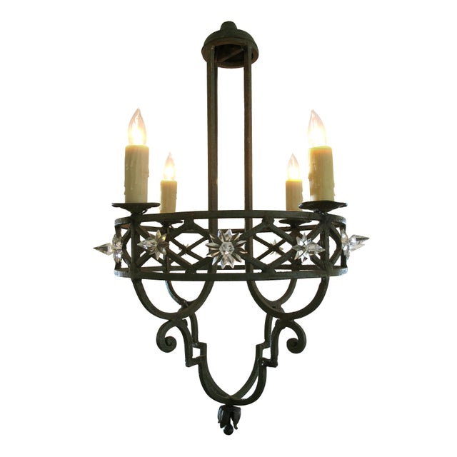 Well-Crafted Spanish Dark Green Painted Hand-Wrought iron Four-Light Chandelier - Image 2 of 5