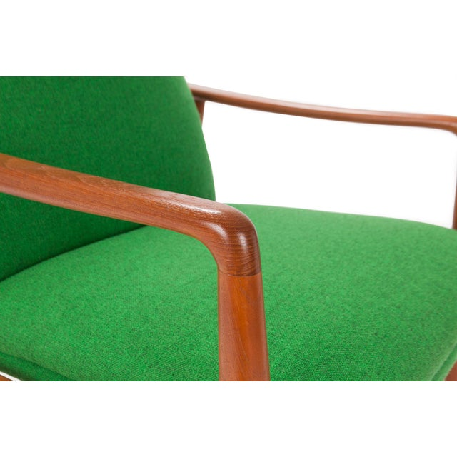 1950s Svend Langkilde for Sl Mobler Teak w/ Green Upholstered Danish Recliner Lounge Chair & Ottoman - Image 5 of 6