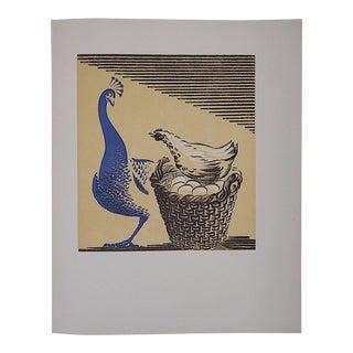 Vintage Ltd. Ed Woodcuts by J. Kefalleno-Greece-Peacock & Chicken