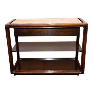 Mid-Century Modern Wood & Marble Serving Cart