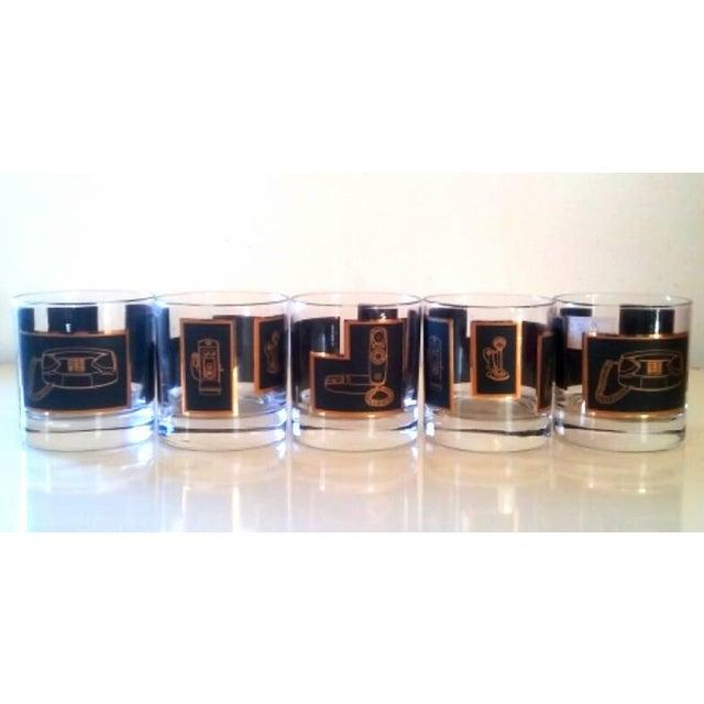 Black & Gold Phone Rocks Glasses - Set of 5 - Image 2 of 6