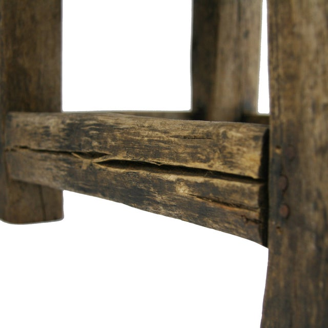 Antique Primitive Hand-Carved Chair Low Chair - Image 2 of 5