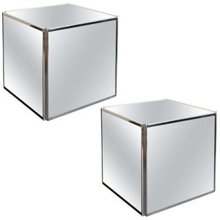 Chrome Mirror Cube Side Tables - Pair
