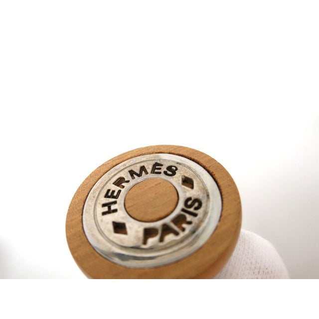 Image of Hermes Clip-On Wood & Palladium Earrings