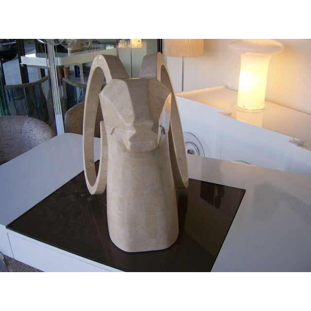 Large Rams Head Sculpture in Travertine Patchwork - Image 3 of 3