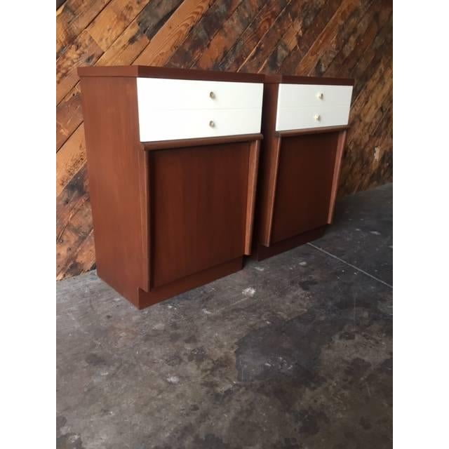 Mid-Century Walnut Nightstands - A Pair - Image 3 of 6