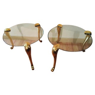 P. E. Gurein Style Brass & Glass End Tables - Pair