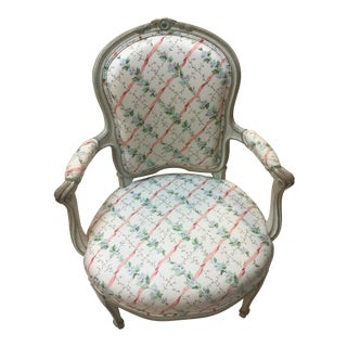 Louis XV Style Painted & Carved Wood Fauteuil