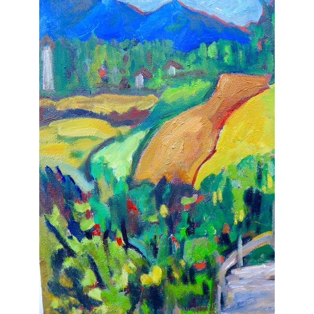 Image of Swiss Farm in Summer Plein Air Painting