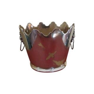 Scalloped Mottahedeh Brass Lion Head Cachepot