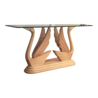 Double Swan Glass Top Console Table