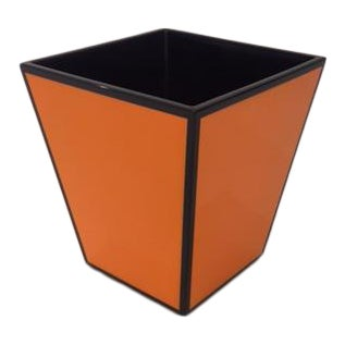 Orange & Black Wastebasket / Storage Bin