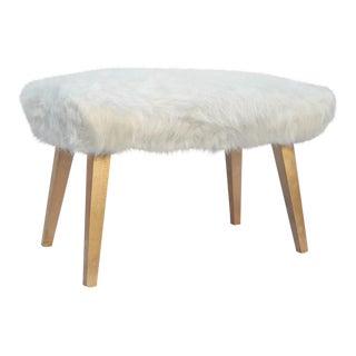 White Faux Fur Ottoman