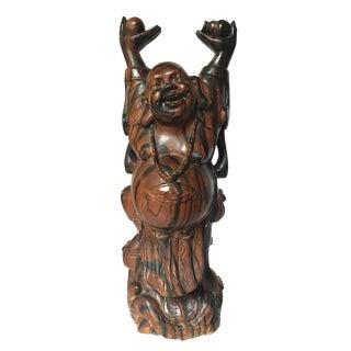 Vintage Macassar Ebony Laughing Buddha Wood Sculpture