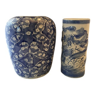 Blue & White Chinoiserie Vases - A Pair