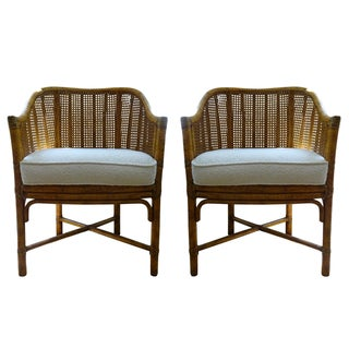 Vintage McGuire Cane Bamboo Barrel Chairs - A Pair