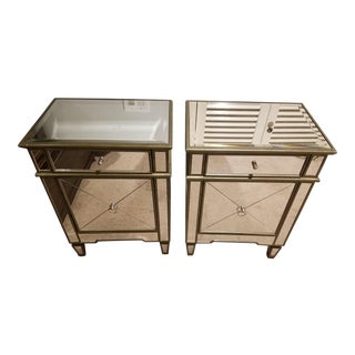 Horchow Mirrored Nightstands - A Pair