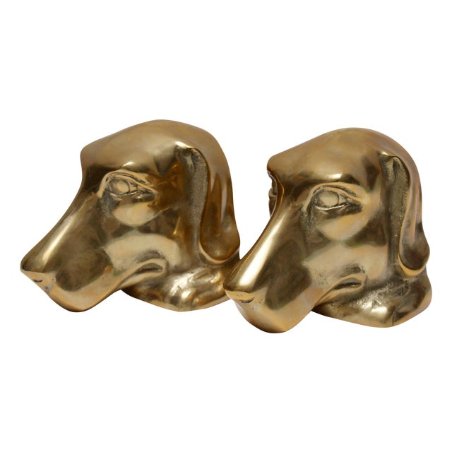 Image of Solid Brass Labrador Bookends - A Pair