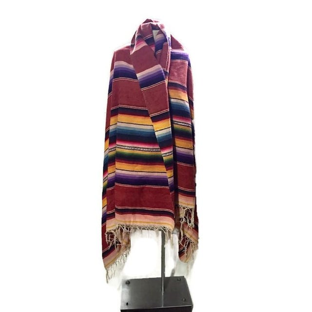 Vintage Saltillo Mexican Blanket Southwest Throw - Image 3 of 6