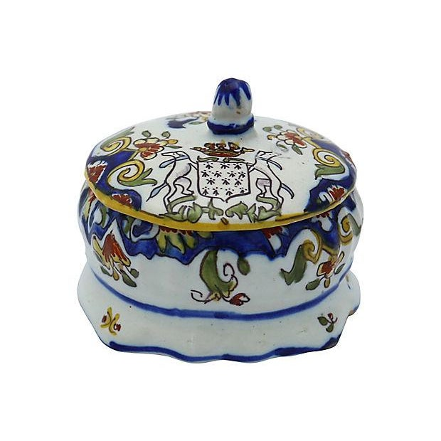 French Faience Crested Trinket Box - Image 2 of 4