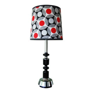 70's Mod Black & Chrome Table Lamp with Custom Shade