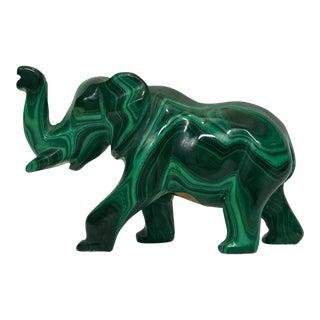 Polished Malachite Elephant Figurine