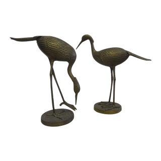 "Vintage Pair 15"" Decorative Brass Cranes"