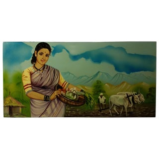 Vintage Indonesian Woman on Farm Painting