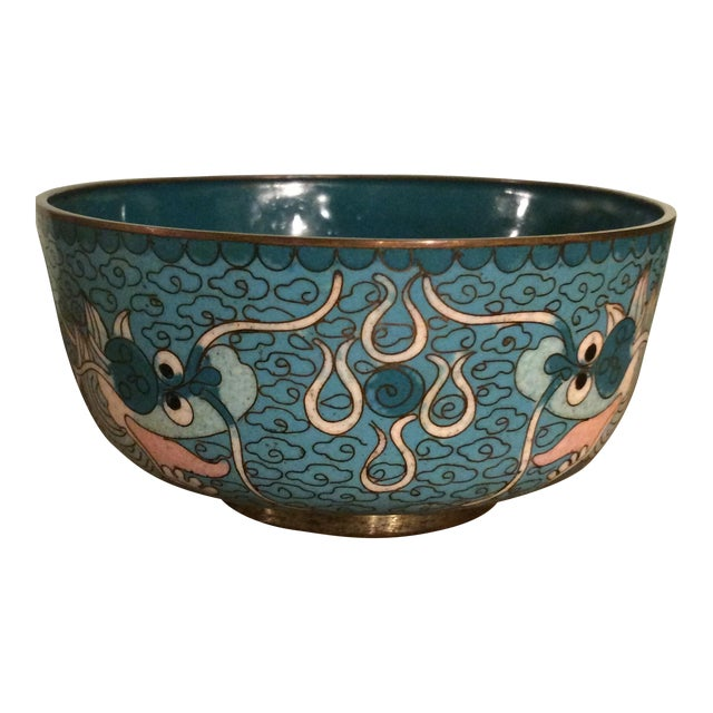 Antique Cloisonne Bowl Featuring Chinese Dragons - Image 1 of 5