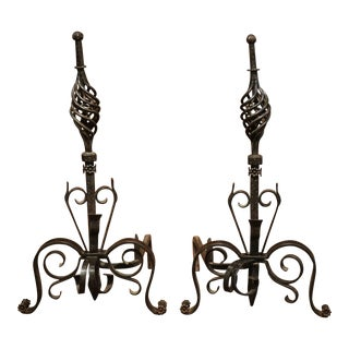 19th Century French Black Iron Andirons - A Pair