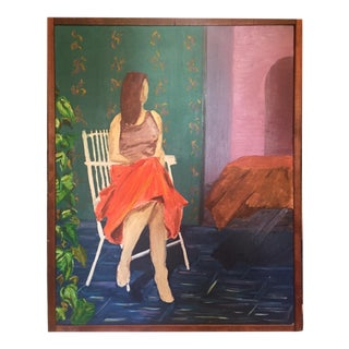 Large Abstract Painting on Canvas - Vintage Art Self Portrait