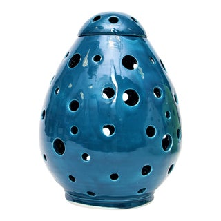 Moroccan Hand Painted Blue Egg Lamp Shell