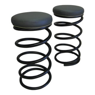 Industrial Spring Stools - A Pair