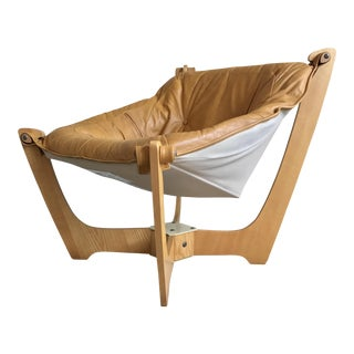 Scandinavian Leather Sling Lounge Chair