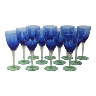 Venetian Glass Wine Goblets - Set of 12