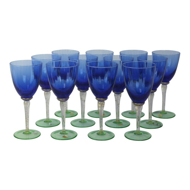 Image of Venetian Glass Wine Goblets - Set of 12