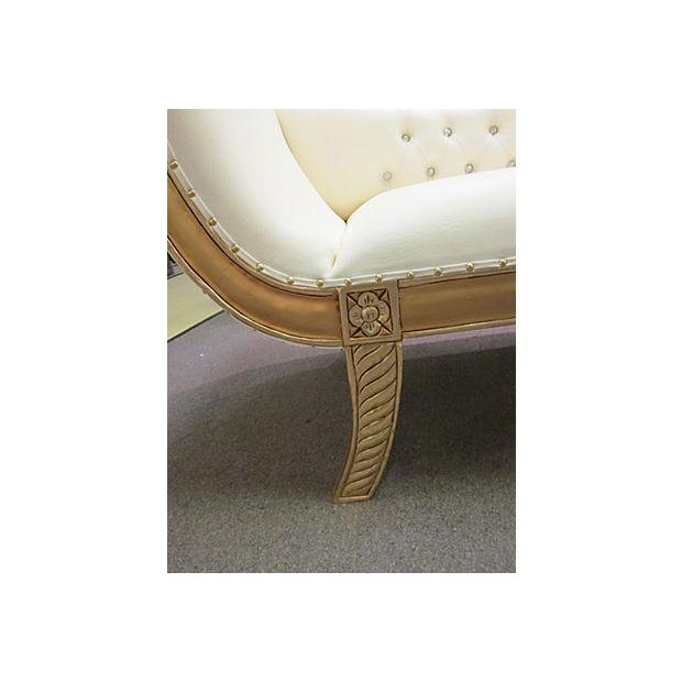 Gold Gilt Leather Chase Lounge Chair - Image 4 of 7