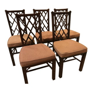 Vintage Hickory Chippendale Fretwork Dining Chairs - Set of 5