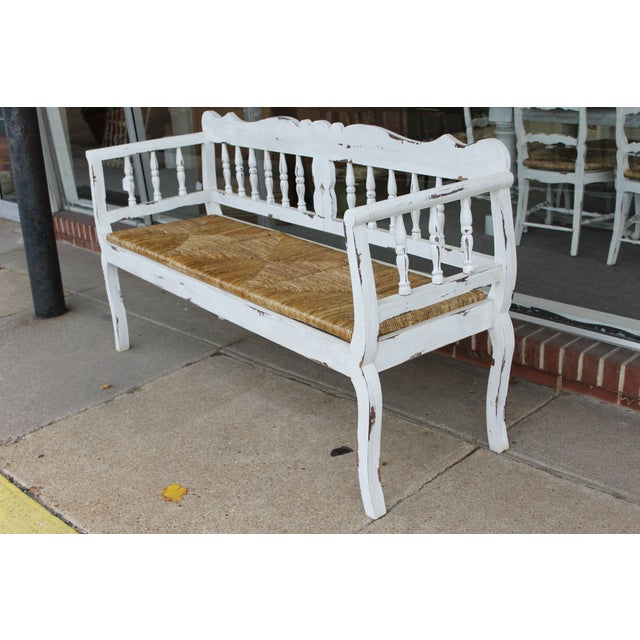 painted french country triple rush seat bench chairish