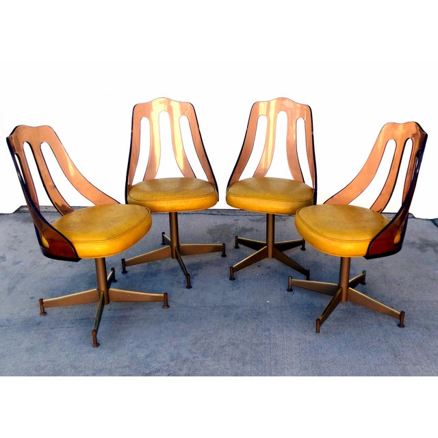 Mid Century Smokey Lucite Dining Chairs Set Of 4 Chairish