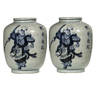 Oriental Warrior Jars - Pair