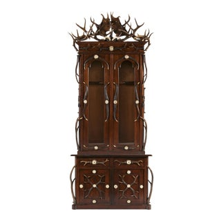 Magnificent Black Forest Antler Gun Cabinet, Late 19th Century