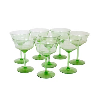 Green Champagne Coupes - Set of 8