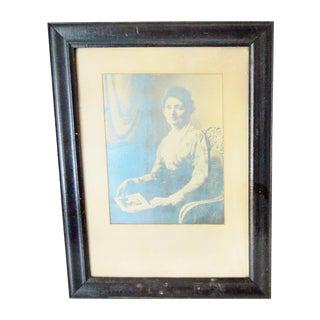 "Victorian Framed ""Patient Mother"" Portrait Photograph"