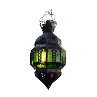 Moroccan Emerald Green Metal Hanging Lantern