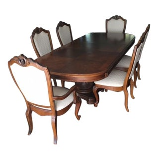 American Drew Co Double Pedestal Table & 6 Chairs Dining Set